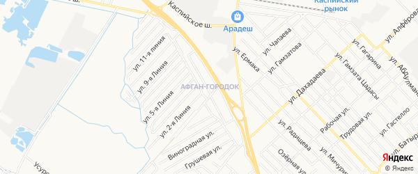 Карта микрорайона Афгана-городка города Каспийска в Дагестане с улицами и номерами домов