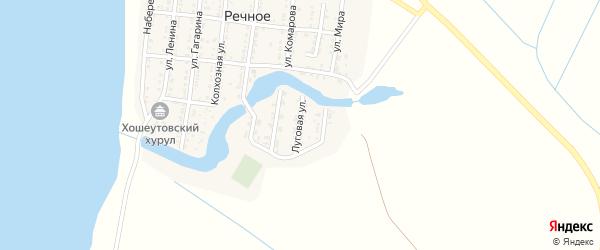 Луговая улица на карте Речного села с номерами домов