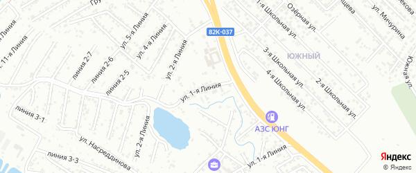 1-я линия на карте гаражно-строительного кооператива Сигнала ПГСК с номерами домов