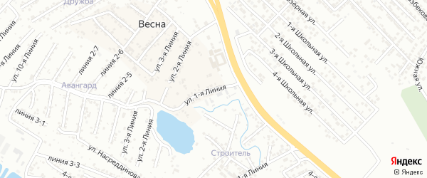 1-я линия на карте Надежды СНТ с номерами домов