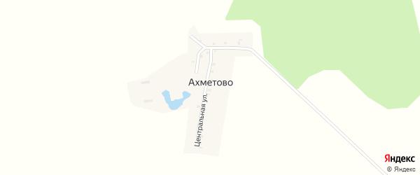 Центральная улица на карте деревни Ахметово с номерами домов