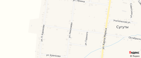 Улица Николаева на карте села Сугуты с номерами домов