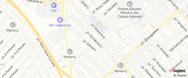 Улица Котовского на карте Каспийска с номерами домов