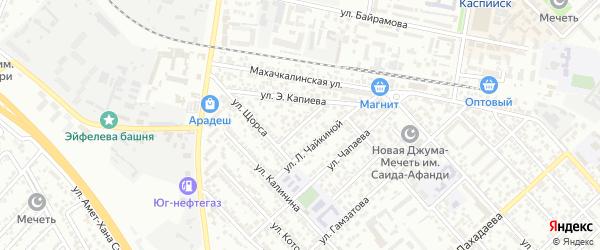 Переулок Дзержинского на карте Каспийска с номерами домов