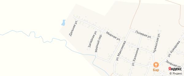 Западная улица на карте села Яншихова-Норвашей с номерами домов