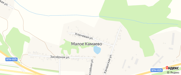 Ключевая улица на карте деревни Малое Камаево с номерами домов