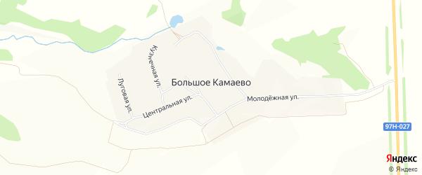 Карта деревни Большое Камаево в Чувашии с улицами и номерами домов
