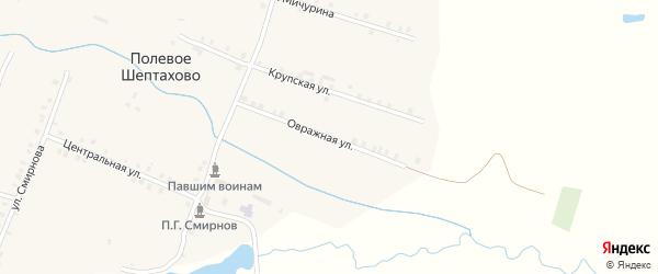 Овражная улица на карте деревни Полевое Шептахово с номерами домов
