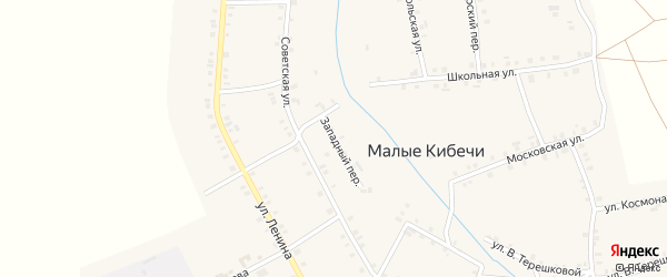 Западный переулок на карте села Малые Кибечи с номерами домов
