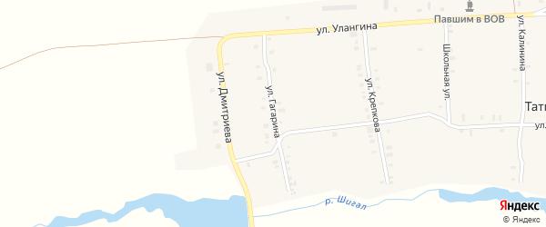 Улица Гагарина на карте деревни Татмыш-Югелево с номерами домов