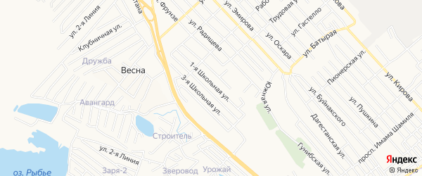 Карта Южного микрорайона города Каспийска в Дагестане с улицами и номерами домов