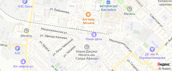 Махачкалинская улица на карте Каспийска с номерами домов