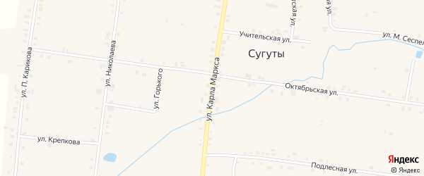 Улица К.Маркса на карте села Сугуты с номерами домов