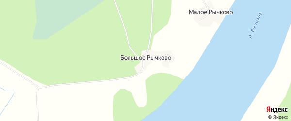 Карта деревни Большое Рычково в Архангельской области с улицами и номерами домов