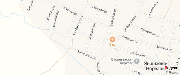 Паварская улица на карте села Яншихова-Норвашей с номерами домов
