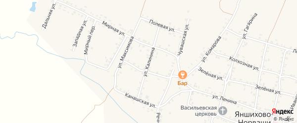 Улица Калинина на карте села Яншихова-Норвашей с номерами домов
