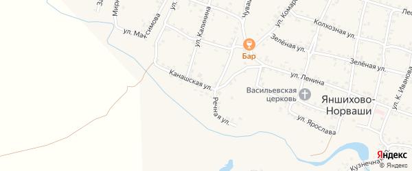 Канашская улица на карте села Яншихова-Норвашей с номерами домов