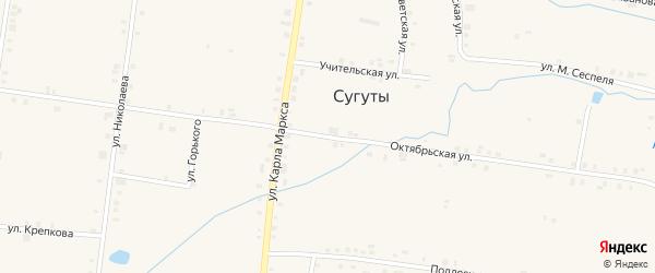 Октябрьская улица на карте села Сугуты с номерами домов