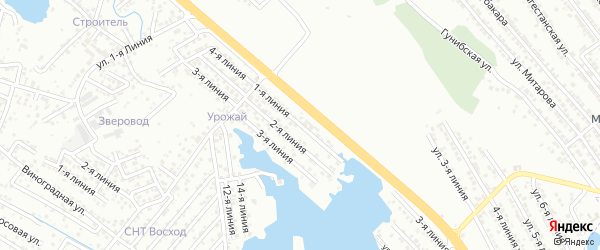 1-я линия на карте района Озера Турали и Аэропортовское шоссе с номерами домов