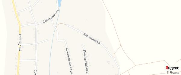 Колхозная улица на карте села Малые Кибечи с номерами домов