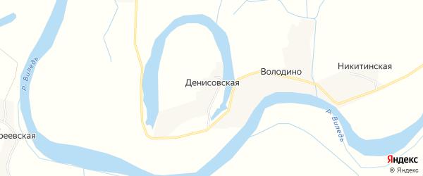 Карта Денисовской деревни в Архангельской области с улицами и номерами домов