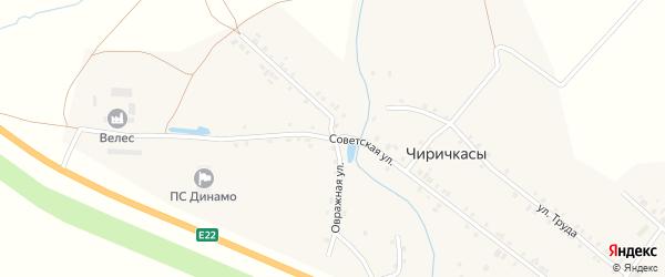 Советская улица на карте деревни Чиричкасы с номерами домов
