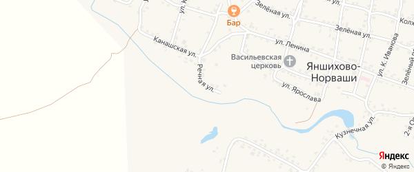 Речная улица на карте села Яншихова-Норвашей с номерами домов