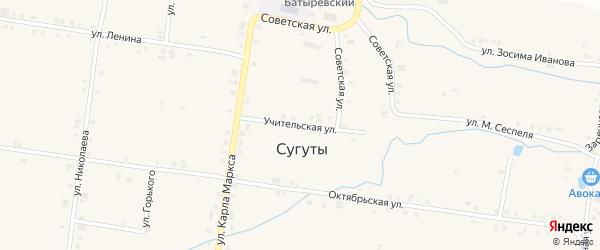 Учительская улица на карте села Сугуты с номерами домов