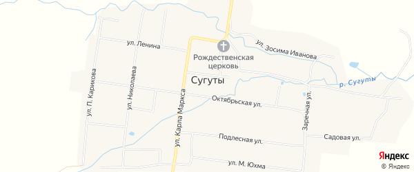 Карта села Сугуты в Чувашии с улицами и номерами домов