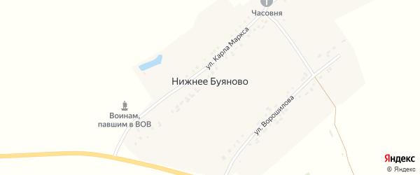 Улица Ворошилова на карте деревни Нижнее Буяново с номерами домов