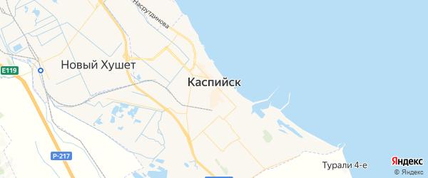 Карта Каспийска с районами, улицами и номерами домов: Каспийск на карте России