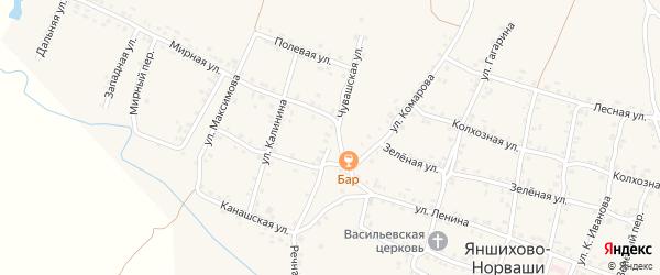 Чувашская улица на карте села Яншихова-Норвашей с номерами домов