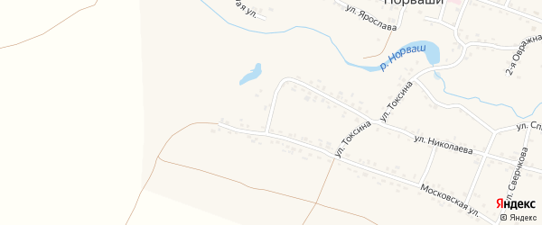 Московский переулок на карте села Яншихова-Норвашей с номерами домов