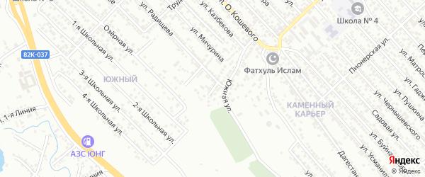 Южный переулок на карте Южного микрорайона с номерами домов