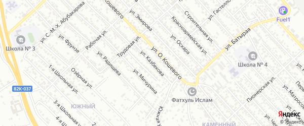 Улица Казбекова на карте Кирпичного поселка с номерами домов