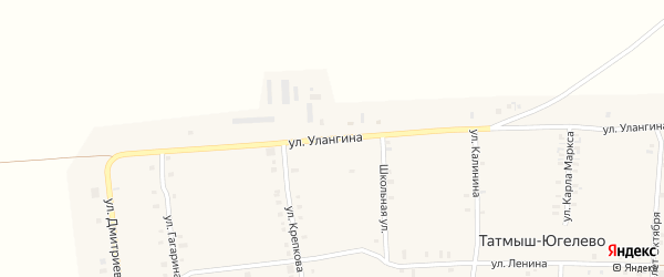 Улица Улангина на карте деревни Татмыш-Югелево с номерами домов
