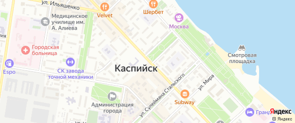 Пляжный проезд на карте Каспийска с номерами домов