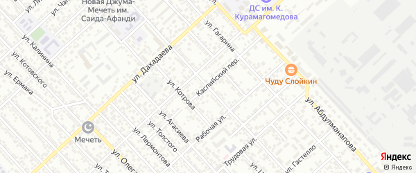 Улица Гамзата Цадасы на карте Каспийска с номерами домов