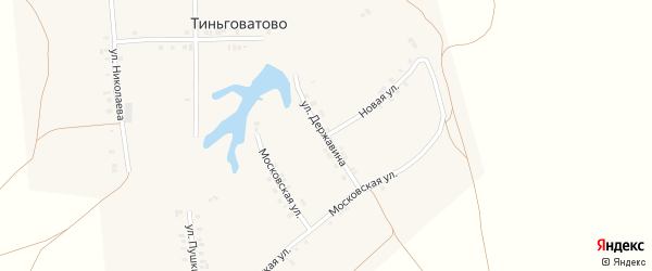 Улица Державина на карте деревни Тиньговатово с номерами домов