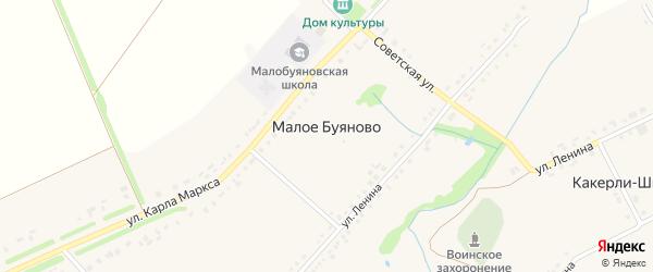 Советская улица на карте деревни Малое Буяново с номерами домов