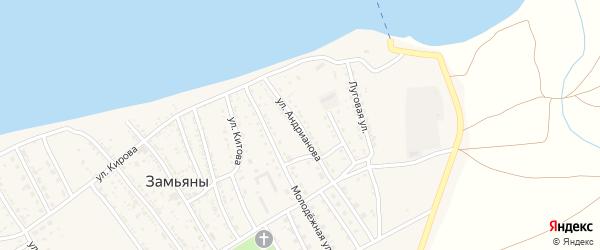 Переулок Андрианова на карте села Замьяны с номерами домов