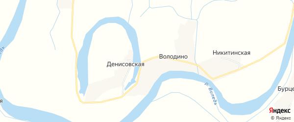 Карта деревни Володино в Архангельской области с улицами и номерами домов