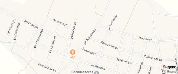 Улица Комарова на карте села Яншихова-Норвашей с номерами домов