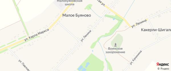 Улица Ленина на карте деревни Малое Буяново с номерами домов