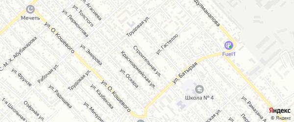 Строительная улица на карте Авангарда СНТ с номерами домов