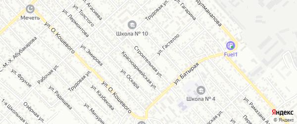 Строительная улица на карте Строителя СНТ с номерами домов