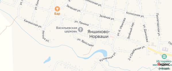 Ключевая улица на карте села Яншихова-Норвашей с номерами домов