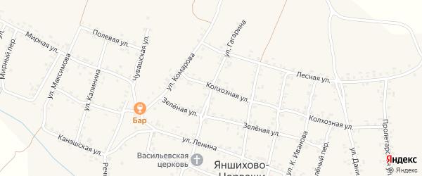 Улица Гагарина на карте села Яншихова-Норвашей с номерами домов