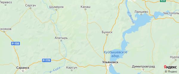 Карта Шемуршинского района республики Чувашия с городами и населенными пунктами