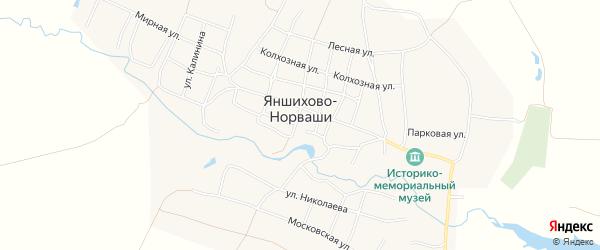 Карта села Яншихова-Норвашей в Чувашии с улицами и номерами домов